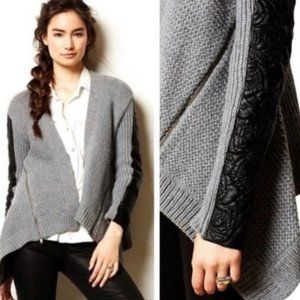 Anthro MOTH Oltrarano Grey Sweater Leather Arms S